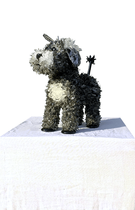 Rocky Black Dog Sculpture