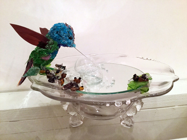 Amici Hummingbird and Bees glass sculpture