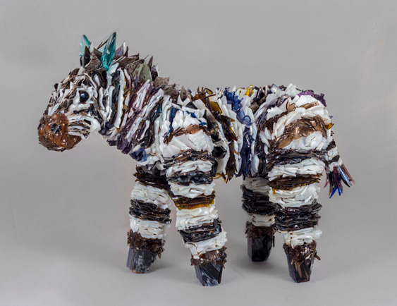 Baku Zebra glass sculpture