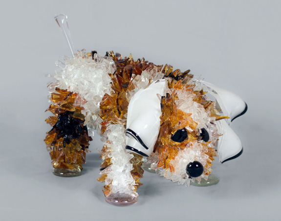 Bean Small Colored Dog glass sculpture