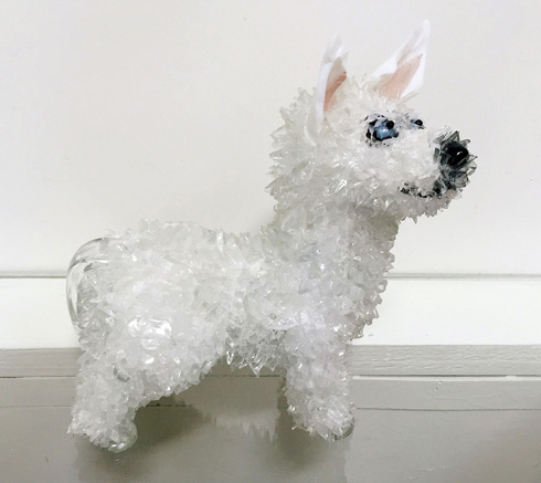 Bear White Siberian Husky glass sculpture