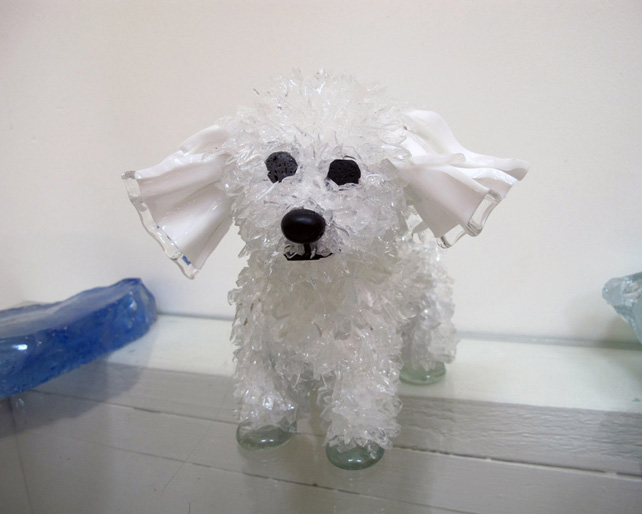 Bebe Curly-Eared Poodle glass sculpture