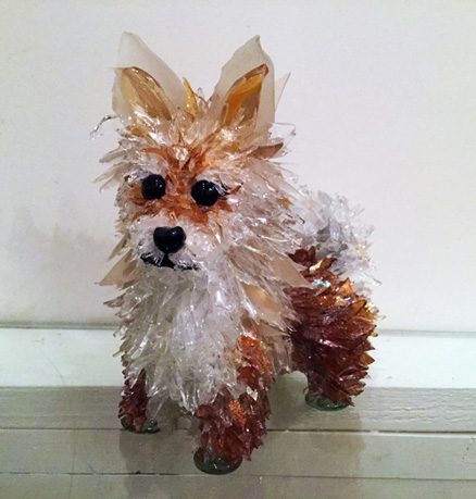Bijou Pomeranian glass sculpture