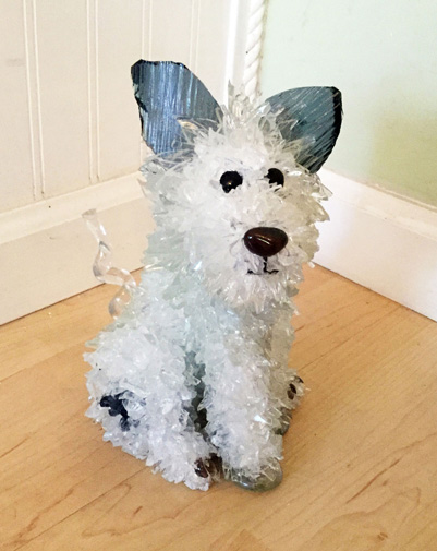 Blue Little Sitting White Dog glass sculpture