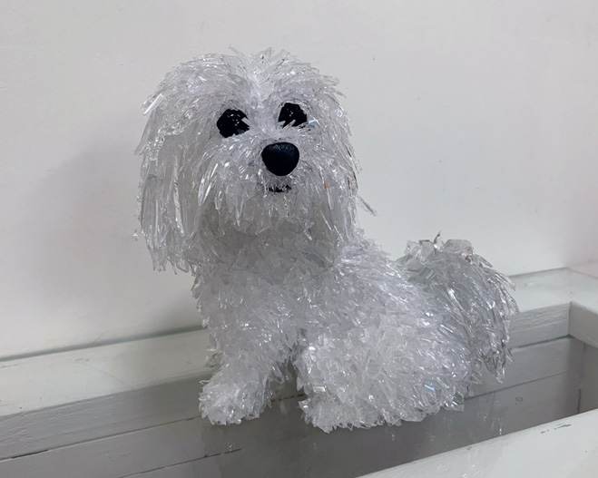 Bogey Maltese glass sculpture