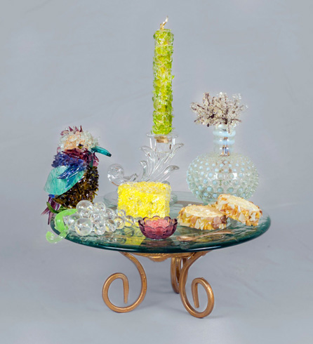 Candles and Caviar Wine Plate with Candle glass sculpture