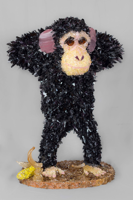 Chango Chimpanzee glass sculpture