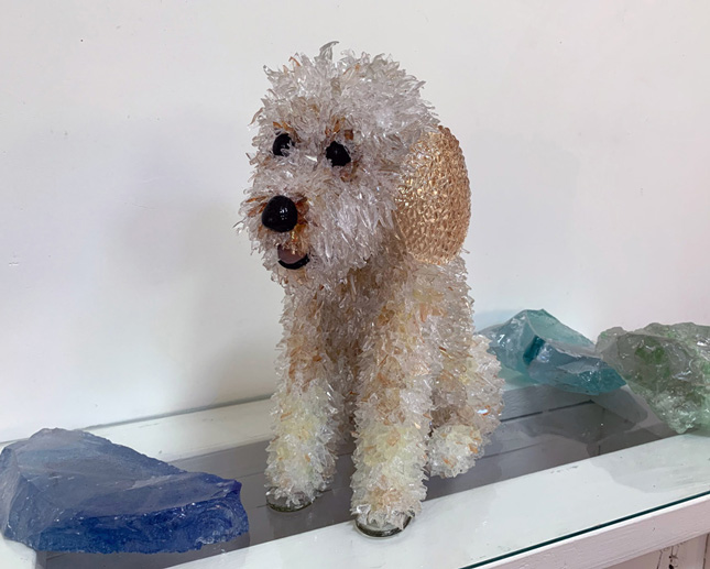 Charlie Golden Doodle glass sculpture