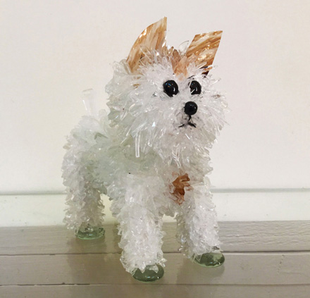 Chestnut White Puppy glass sculpture