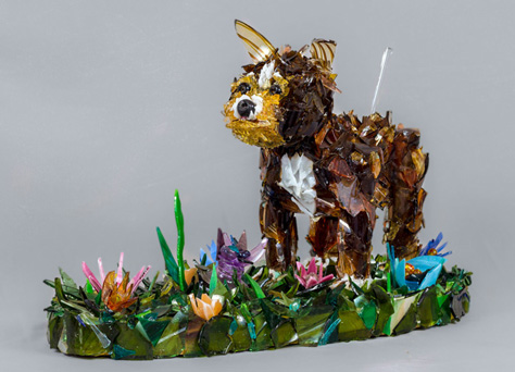 Chihuahua in the Meadow Chihuahua glass sculpture