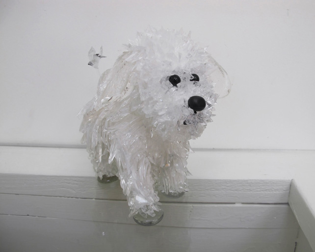 Chimichanga White-Striped, Shaggy, Little Dog glass sculpture