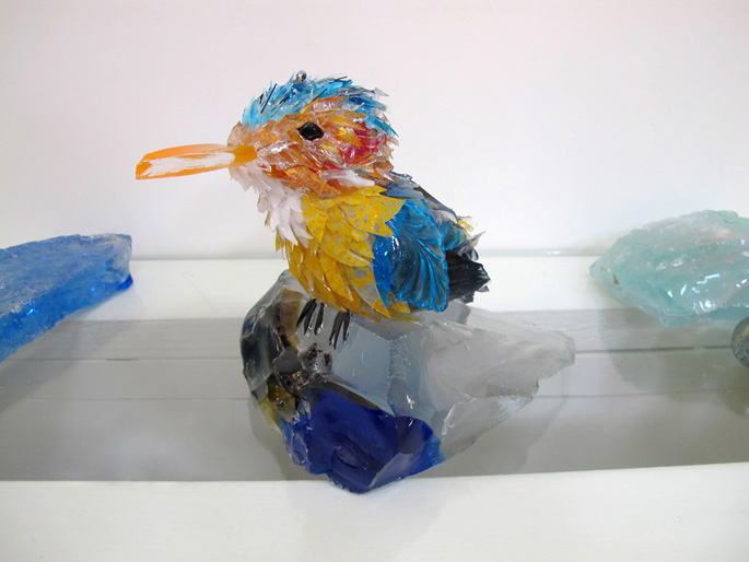 Cleo Pygmy King Fisher glass sculpture