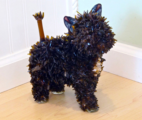 Coco Little Dark Brown Dog glass sculpture