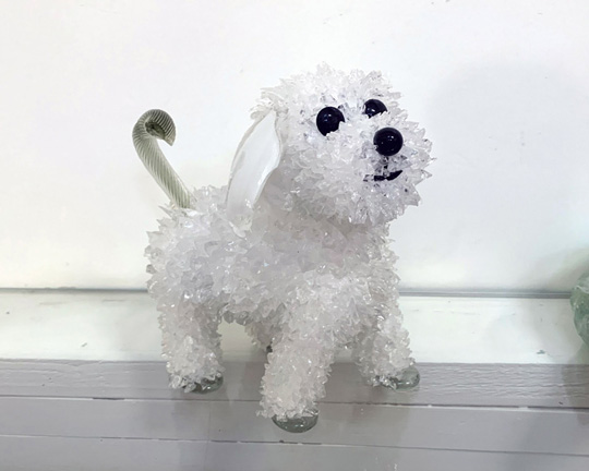 Coconut White Poodle glass sculpture