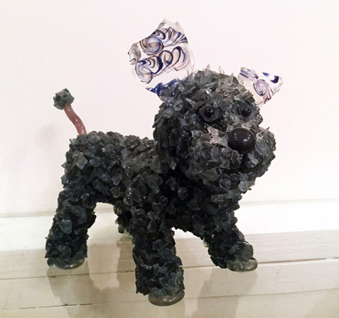 Dink Black Poodle glass sculpture