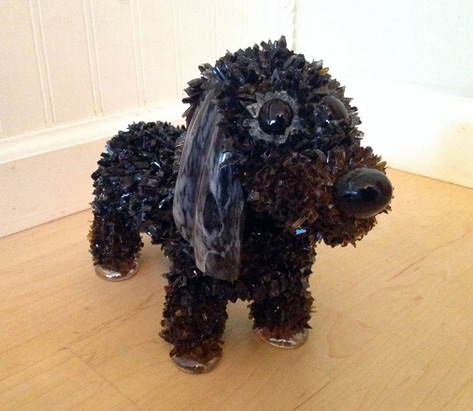 Dixie Black and Brown Dachshund glass sculpture