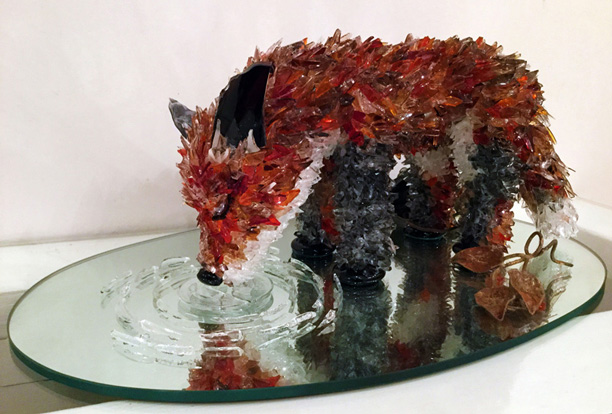Elsa Small Red Fox glass sculpture