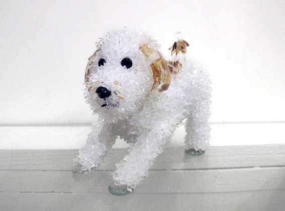Figgy White Prone Dog glass sculpture