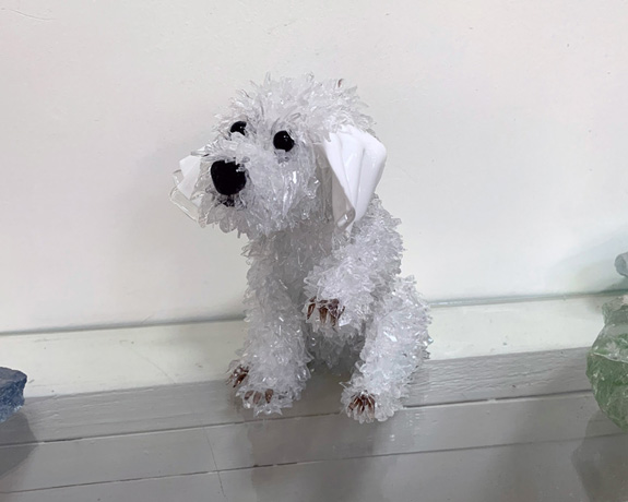 Flip Small white dog with vintage ears glass sculpture