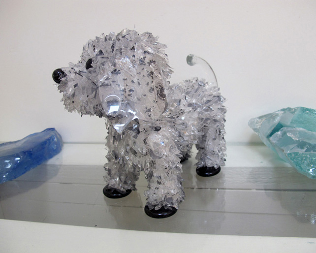 Freckle Spotted Gray Dog glass sculpture