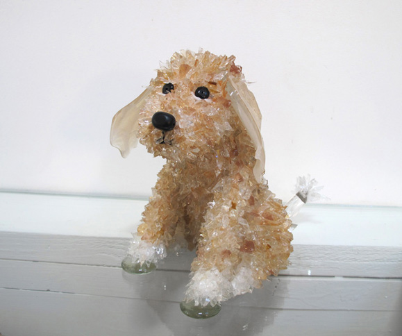Goose Light-Colored Sitting Dog glass sculpture