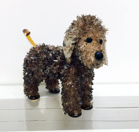 Henry Brown Poodle glass sculpture