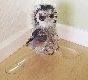 Jewel Owl on Glass Tube glass sculpture