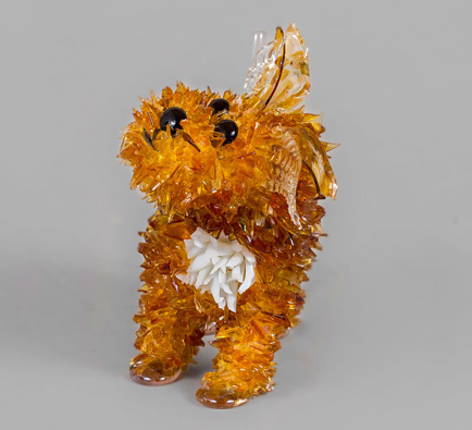 Jujube Little Brown Dog glass sculpture