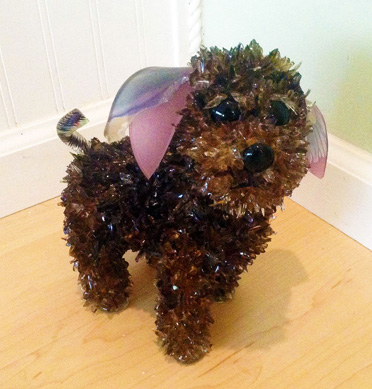 Keifer Smokey Little Dog glass sculpture