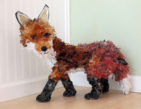 Kit Fox glass sculpture
