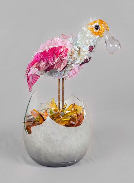 Lily Bird in an Egg glass sculpture