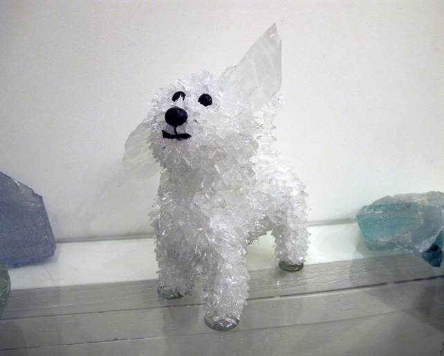 Matisse White, single-floppy ear dog glass sculpture
