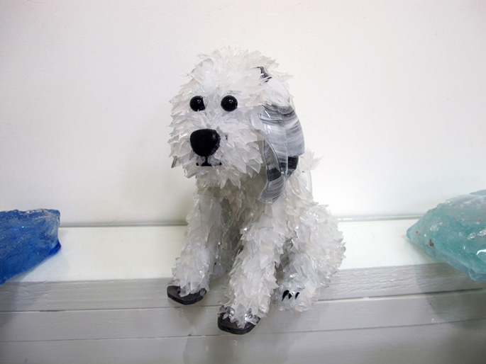 Maui White sitting dog with gray ears glass sculpture
