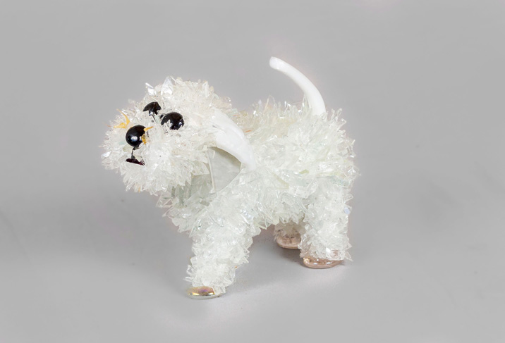 Minni Little White Dog glass sculpture