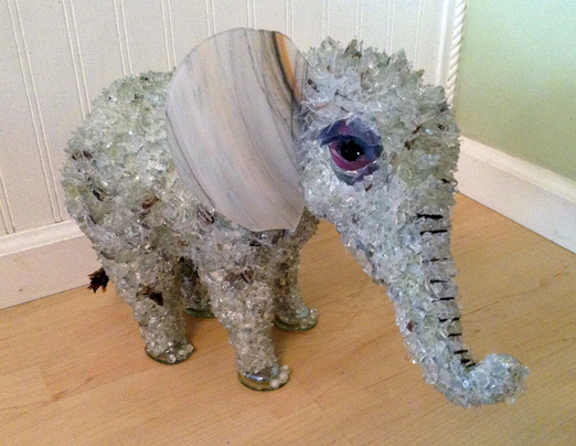 Nine Baby Elephant glass sculpture