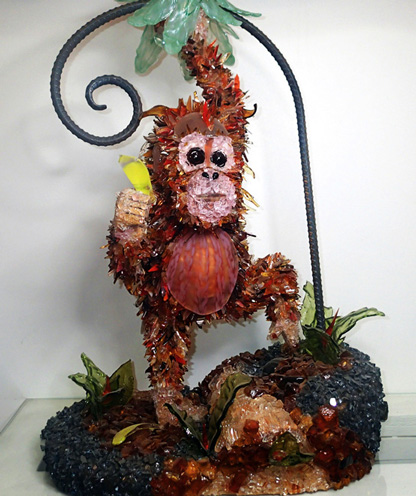 Orangustang Orangutan glass sculpture