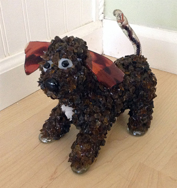 Pebble Small Brown Poodle with Red Ears glass sculpture