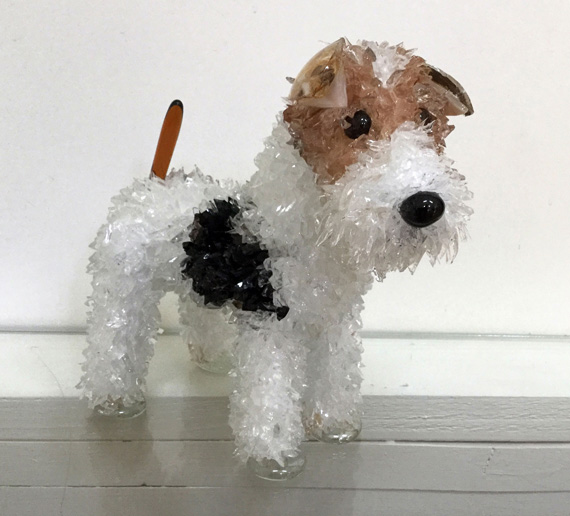 Pepper Wire Hair Terrier glass sculpture