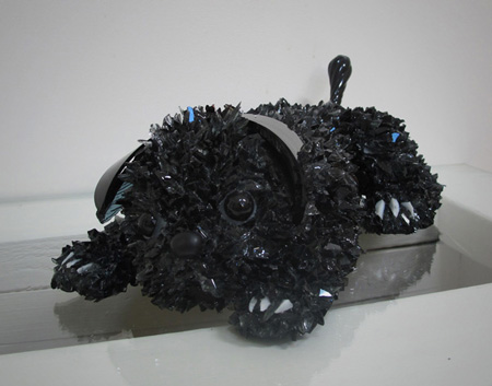 Perry Black Baby Pug glass sculpture