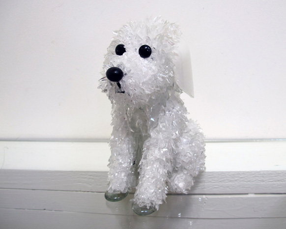 Petunia Floppy-eared sitting white dog glass sculpture