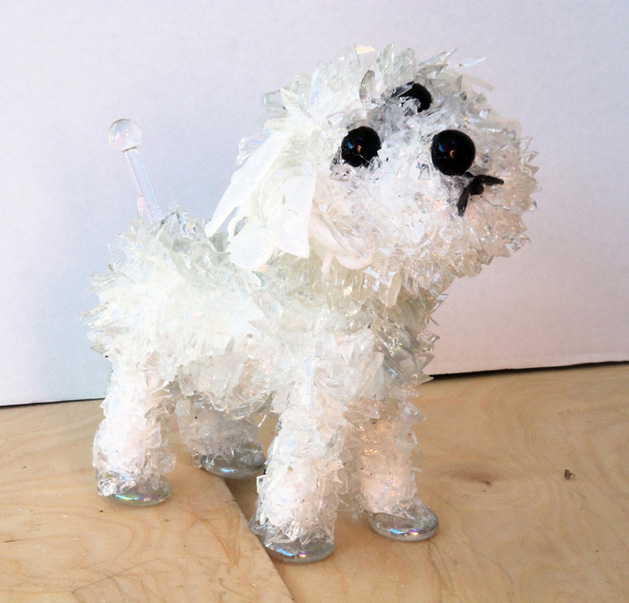 Pip Little White Dog glass sculpture