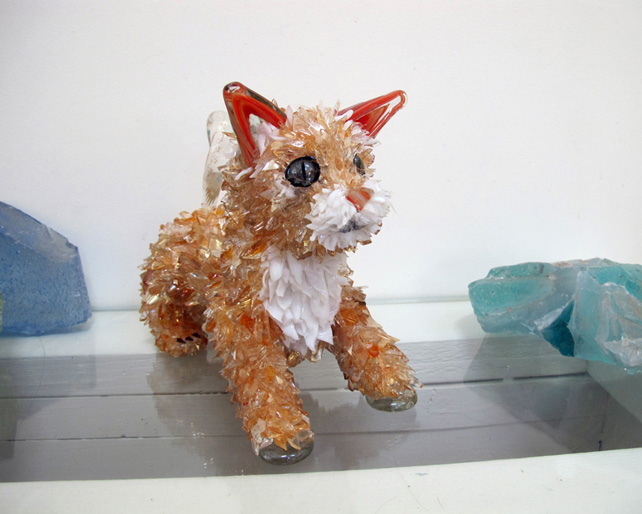 Piper Small, Orange and White Tabby glass sculpture