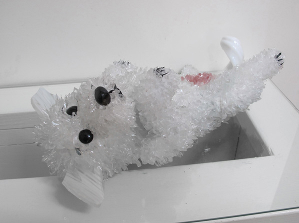 Poppy White Terrier glass sculpture