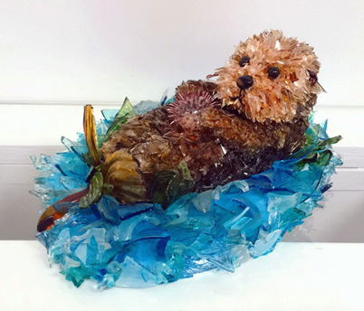 Pup Baby Otter glass sculpture