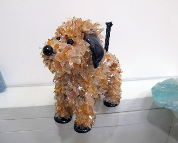 Putt Putt Small Black and Gold Dog glass sculpture
