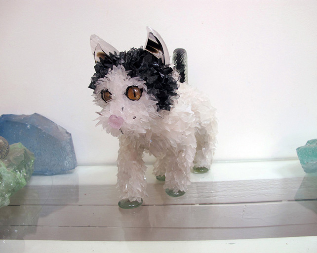 Rambo Small Walking Cat glass sculpture