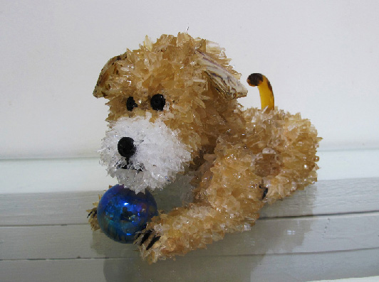 Riff Toffee Colored Dog with a Ball glass sculpture