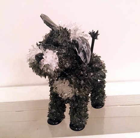Rocky Little Black and White Dog glass sculpture