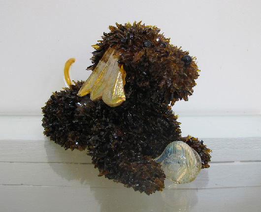 Ruff Little Brown Dog with a Ball glass sculpture