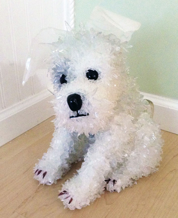 Ruffle Sitting White Dog glass sculpture